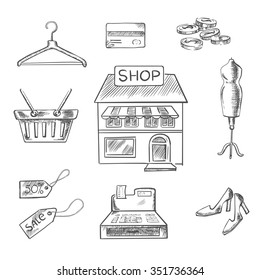 Sketch design elements with a central store front surrounded by a till, sale price, basket, hanger, credit card, cash, mannequin and shoes. Retail concept usage