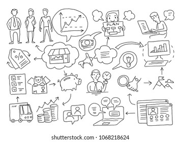 Sketch diagram of cases. Business plan presentation freehand drawing. Marketing and planning of sales on Internet advancement promotion.