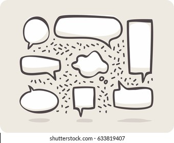 Sketch dialogs cloud. Set of hand drawn think and talk speech bubbles for message and dialog words. Doodle style comic balloon, cloud shape design elements.
