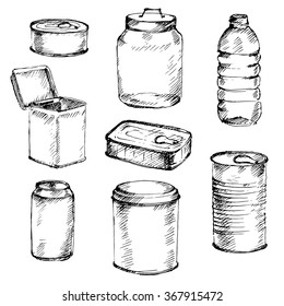 Sketch of different mason jars, metal cans and bottles. Hand-drawn vector illustration.
