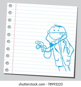 Sketch of a doctor holding stethoscope