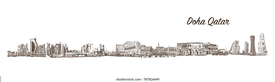 Sketch of Doha City Skyline, Qatar in vector illustration.