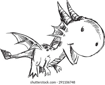 Sketch Doodle Dragon Vector Illustration Art