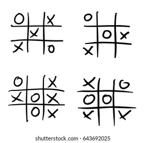 Sketch or doodle of four noughts and crosses games.