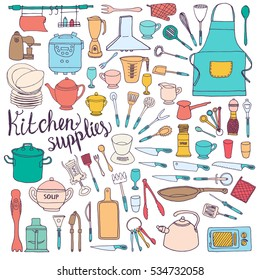 Sketch doodle illustration of kitchen tools, ware, accessories, supplies, appliances, equipment, utensils, such as bottles, knives, cups, measuring, jars, gloves, apron, vessels, bottles, forks, spoon