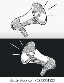 Sketch doodle megaphone horn loudspeaker outline