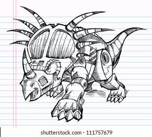 Sketch Doodle Robot Machine Triceratops Dinosaur Vector Illustration