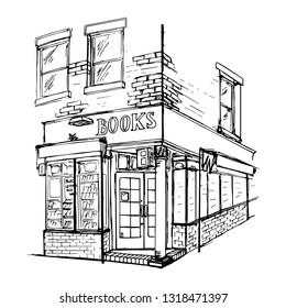 Sketch doodling illustration of book shop in New York. Vector illustration isolated on white background. Corner Perspective. Monochrome background. Travel, leisure. Design for banner, postcard.