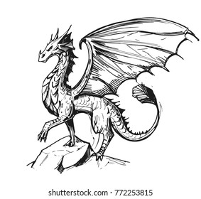 Sketch of a dragon. Hand drawn illustration converted to vector.