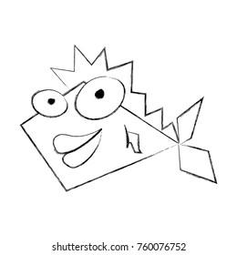 sketch draw funny fish cartoon