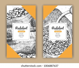 Sketch drawing art for coffee packaging label with yellow color.Use by Pen ink.Vector and illustration.