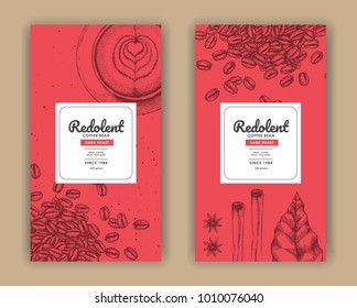 Sketch drawing art for coffee packaging label with red color.Use by Pen ink.Vector and illustration.