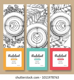 Sketch drawing art for coffee packaging label.Use by Pen ink.Vector and illustration.