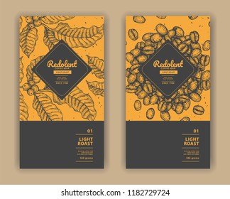 Sketch drawing art for coffee packaging label with yellow color.