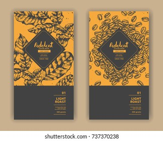 Sketch drawing art for coffee packaging label with yellow and black color. Pen ink vector illustration.
