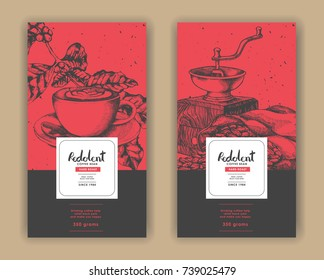 Sketch drawing art for coffee packaging label with red and black color.Use by Pen ink.Vector and illustration.