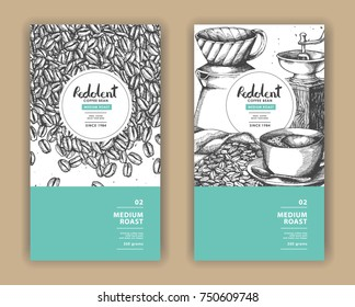 Sketch drawing art for coffee packaging label with green color.Use by Pen ink.Vector and illustration.