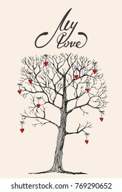 sketch drawing a hand-drawn tree with cute red hearts and letting my love on a soft background