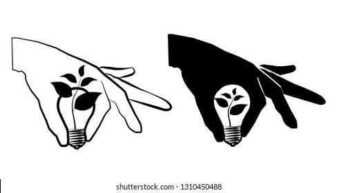 Sketch drawing light bulb is burning in hand icon symbol growth, sprout