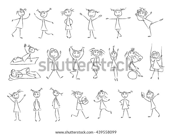 Sketch drawing little girls in different poses. Vector set in black and white color. Dance, jump, fun. Coloring coal illustration. Girls silhouette, monochrome, simple kids, drawing little children