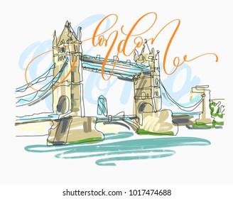sketch drawing of London Bridge Tower in England with hand lettering inscription text to travel card poster, vector illustration