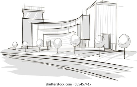Sketch drawing of modern architecture. Vector image.