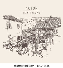 sketch drawing of old town view Kotor Montenegro, vintage touristic postcard, travel vector illustration
