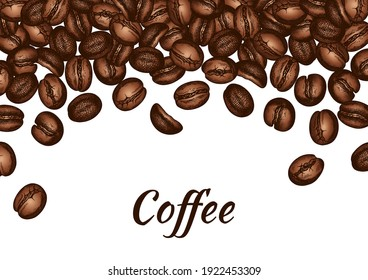 Sketch drawing poster with brown roasted coffee bean isolated on white background. Organic coffee grounds. Wallpaper, card, template, caffeine, aroma seed. Vector illustration.