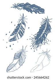 A sketch drawing of stylized feathers