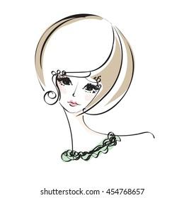 sketch drawing. woman, face, beauty makeup girl, illustration, original sketch vector file