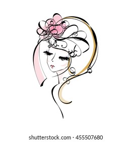sketch drawing. woman, face, beauty makeup girl, illustration, original sketch vector file