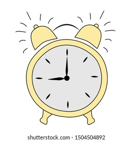 sketch drawn in vector with yellow morning ring alarm clock on isolated white background
