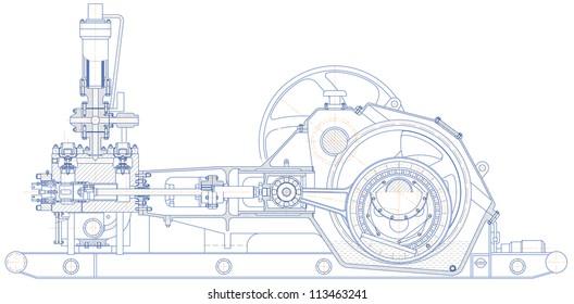 Sketch. Drilling triplex pump. EPS 10