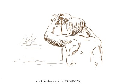 Sketch of Drops of Purity Water offered to the sacred River as a prayer to an elderly, at the Ghats of Varanasi aka Benaras in vector illustration.