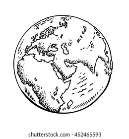 Sketch of the Earth. Black and white hand drawn vector illustration isolated on white background.