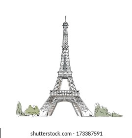 Sketch of Eiffel Tower Paris