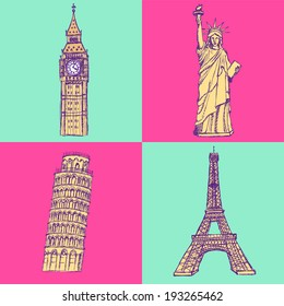 Sketch Eiffel tower, Pisa tower, Big Ben and Statue of Liberty, vector vintage set