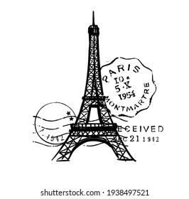Sketch of Eiffel Tower with post stamps. Romantic symbol in France. Sightseeing landmark.