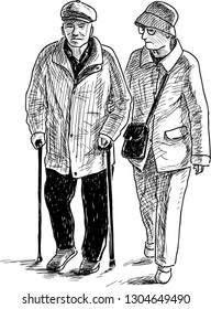 A sketch of an elderly couple going on a stroll