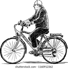 Sketch of an elderly man riding a bike