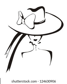 Sketch of elegant woman in hat. Black and white vector illustration.