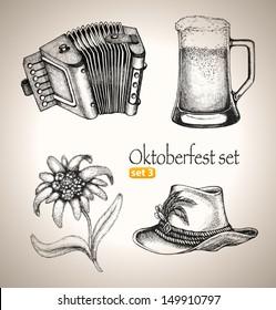 Sketch elements for oktoberfest festival. Hand-drawn vector illustration. Set 3