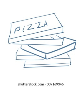 Sketch of empty pizza boxes