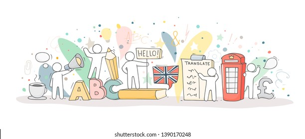 Sketch of english class with studing little people. Doodle cute miniature of teamwork and british symbols. Hand drawn cartoon vector illustration for school subject design.