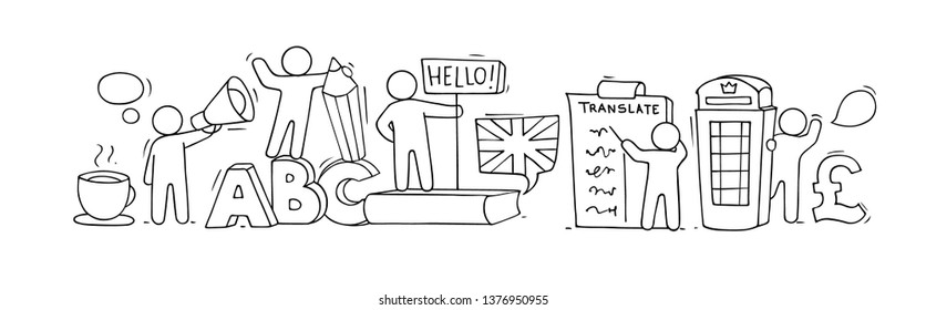 Sketch of english class with working little people. Doodle cute miniature of teamwork and british symbols. Hand drawn cartoon vector illustration for school subject design.