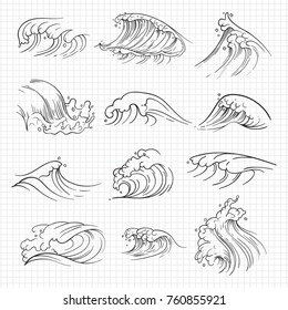 Sketch of expressive ocean waves on notebook page. Vector illustration