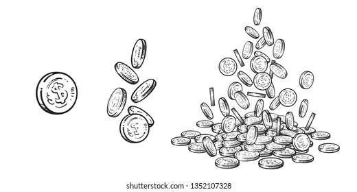 Sketch of falling coins in different positions. Black and white finance, money set. Hand drawn collection isolated on white background. Vector illustration.