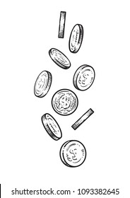 Sketch of falling coins. Set of metal money in different positions. Hand drawn vector illustration isolated on white background.