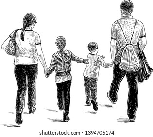 Sketch of a family of citizens going on a stroll
