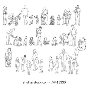 sketch of family kids and babies